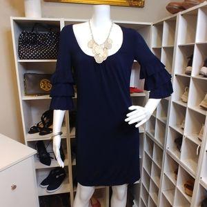 $278 TRINA TURK NAVY BLUE RUFFLE SLEEVE DRESS 2